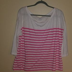 Old navy 3/4 sleeve pink and white tshirt